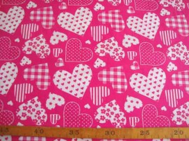 Hartjesmotief katoen Pink/wit 5648-17N