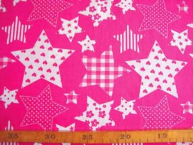 Stermotief katoen Pink/wit 5649-17N