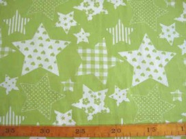Stermotief katoen Lime/wit 5649-24N