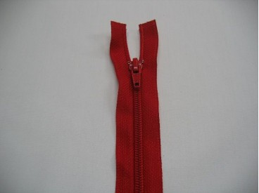 Deelbare rits fijn, rood. 50 cm. lang