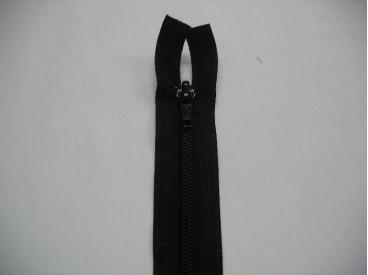 Zwarte deelbare fijne rits. 50 cm. lang
