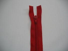 Rode deelbare fijne rits. 55 cm. lang