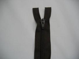 Donkerbruine deelbare fijne rits. 55 cm. lang