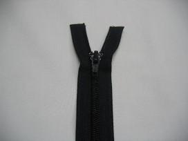 Donkerblauwe deelbare fijne rits. 55 cm. lang.