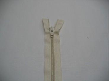 Creme kleurige deelbare fijne rits. 55 cm. lang