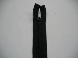 Zwarte deelbare fijne rits. 55 cm. lang.
