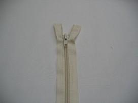 Deelbare fijne rits Creme 60 cm.