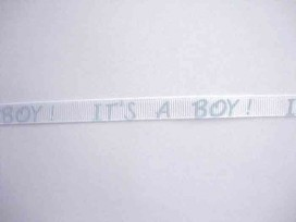 Ribsband wit/lichtblauw It's a Boy! 10mm. 1202-B-06