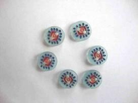 1g BK knoop Blauwe stip met rood vierkant 12mm. BK327-12