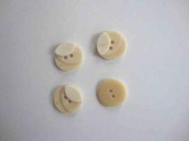 5x Kunststof knoop 3- kleurig Creme 15mm. 82-15
