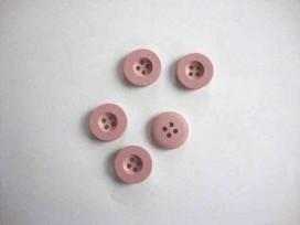 5k Houten knoop 4-gaats Oudroze 15mm. hk5463