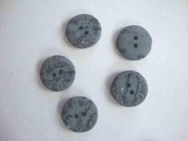 Bizzkids en Roos knoop  Blauw/grijs gevlekt 22mm. 5466