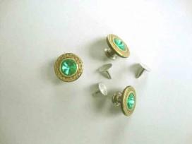 Jeans inslagknoop Goud met smaragd 18mm. jik318