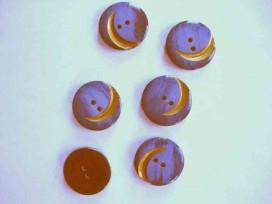 9t Serie knoop Donkerblauw met gouden krul 20mm. sk906