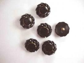 9g Serie knoop Zwart/gouden bloem 25mm. sk919
