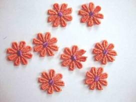 Bloemapplicatie 2 kleurig Oranje/paars E2-25 OP