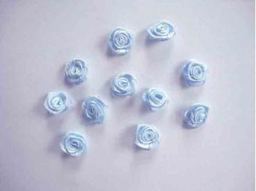 Applicatie Roos/strikje Lichtblauw roosje R664
