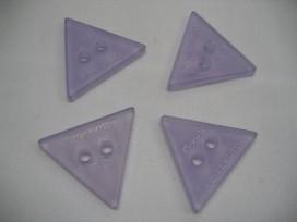 Plastic driehoek Roosknoop Lila/transparant 30mm