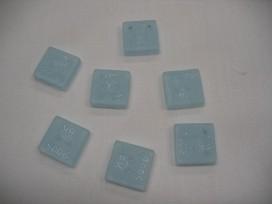 Plastic vierkante Roos knoop Lichtblauw 15