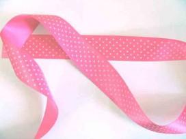 Satijnband Roze met stipjes 25mm