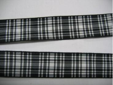 6a Sierband diversen Zwart/wit geruit 25mm. 739
