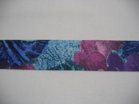 Sierband diversen Blauw/paars met bloem 25mm. 729