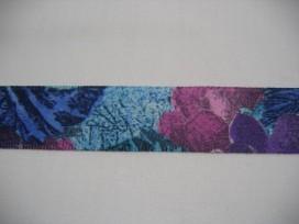Sierband  Blauw/paars met bloem 25mm