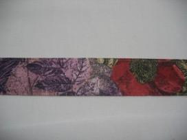 6e Sierband diversen Zand met paars/rode bloem 25mm 732