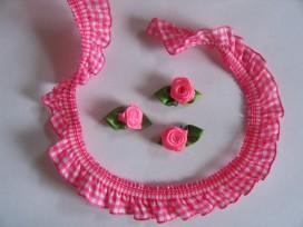 Elastisch kant boerenbont ruit Pink  2cm