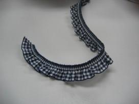 Elastisch kant boerenbont ruit donker blauw  2cm