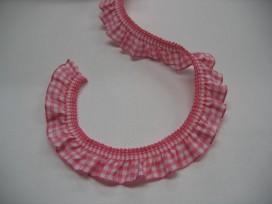 Elastisch kant boerenbont ruit roze  2cm