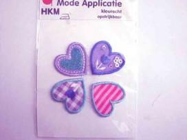 Hartjes applicatie 4 stuks Paars/pink/aqua