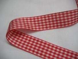 Boerenbont lint rood/wit geruit 2,5cm