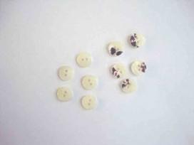 5a Kunststof mini knoop 2-zijdig Offwhite 10mm. 800-S9