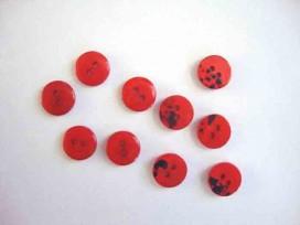Kunststof mini knoop 2-zijdig Rood 12mm. 805-S9