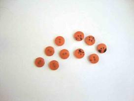 Kunststof mini knoop 2-zijdig Warmoranje 10mm. 806-S9