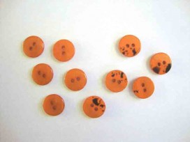 Kunststof mini knoop 2-zijdig Warmoranje 12mm. 807-S9