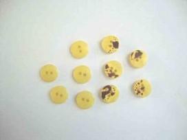 Kunststof mini knoop 2-zijdig Geel 12mm. 811-S9