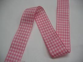 9d Boerenbont lint roze/wit geruit