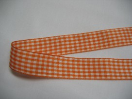 9j Boerenbont lint oranje/wit geruit
