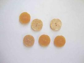 5i Kunststof knoop glanzend gemeleerd Goud 18mm. 338-S12