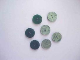 Kunststof knoop glanzend gemeleerd Groen 18mm. 343-S12
