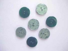 5o Kunststof knoop glanzend gemeleerd Groen 20mm. 344-S12