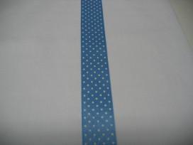 Satijnband Lichtblauw met stipjes 25mm