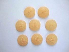 Kunststof knoop mat gespikkeld Licht oranje 18mm. 407-S13