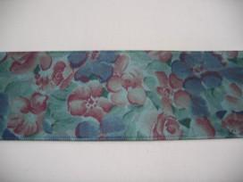 Oudgroen sierlint met bloemen  40mm