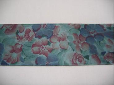 Satijnlint luxe oudgroen met bloemen  Breed: 4 cm.  100% polyester  Made in Switzerland