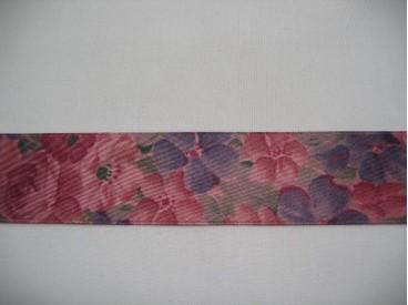 Oudroze sierlint met bloemen  25mm