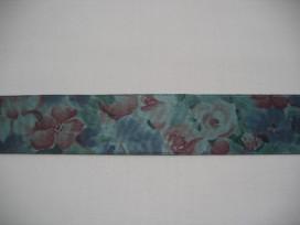 Oudgroen sierlint met bloemen  25mm