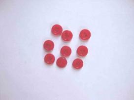Kunststof knoop mat met cirkel Rood 12mm. 480-S15